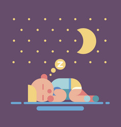 Cute sleeping baby geometry flat vector