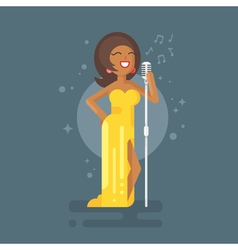 flat style of Afro American woman star celebrity vector image
