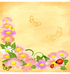 floral corner on grunge background vector image
