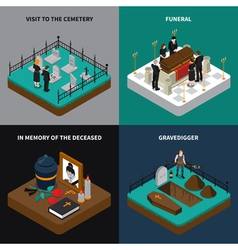 Funeral Isometric Concept vector image vector image