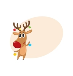 Funny reindeer holding balls for Christmas tree vector image