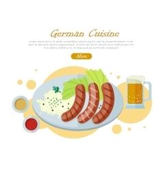 German cuisine flat design web banner vector