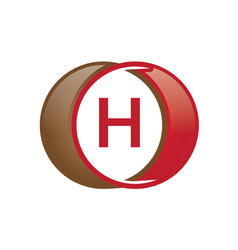 h letter circle logo vector image