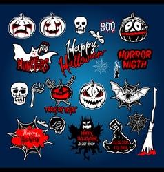 Halloween set drawn halloween symbols pumpkin vector