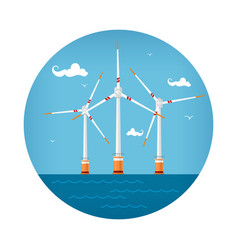 Icon wind turbines at the sea vector
