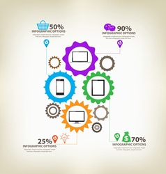 Infographic gears digital technology vector