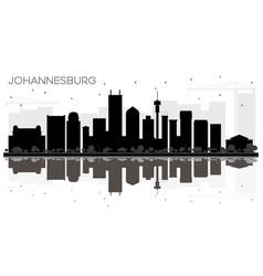 Johannesburg south africa city skyline black and vector