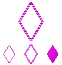 Magenta line rhombus logo design set vector