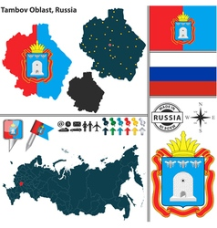 Map of Oblast of Tambov vector image vector image