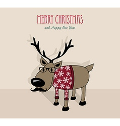 Merry christmas and happy new year hipster vector