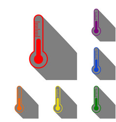 Meteo diagnostic technology thermometer sign set vector