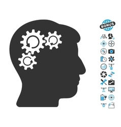 Mind Gear Rotation Icon With Air Drone Tools Bonus vector image