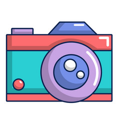 Retro camera icon cartoon style vector