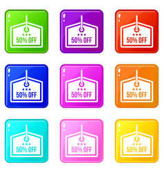 Sale tag 50 percent off set 9 vector