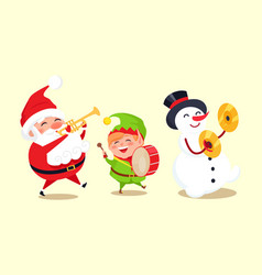 Santa claus with elf and snowman playing music vector