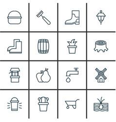 Set of 16 garden icons includes bush pot rubber vector