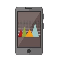 smartphone device with statistics graphic vector image