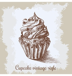 Sweet bakery decorated cupcakes hand drawn in vector