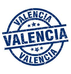 Valencia blue round grunge stamp vector