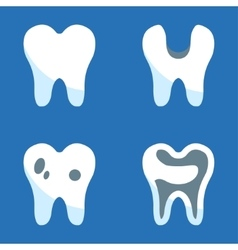 white teeth icons set vector image vector image