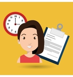 woman with papers and watch isolated icon design vector image