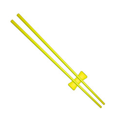 Wooden chopsticks in yellow design vector