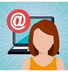 Woman laptop email icon vector