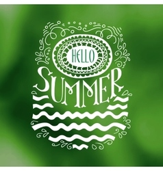 Hello summer drawn quote on green vector