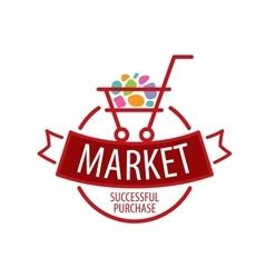 Round logo shopping cart vector