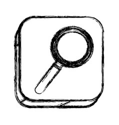 Monochrome sketch of square button with magnifying vector