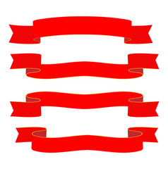 Red ribbons on white background vector