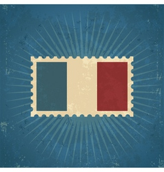 Retro France Flag Postage Stamp vector image