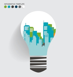 City in light bulb vector
