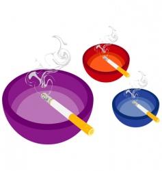 smoking cigarette and ashtray vector image