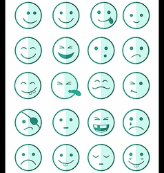 Icons set 20 faces and characters green half vector