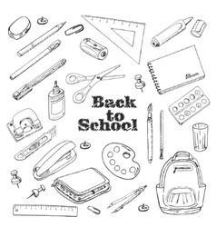 Back to school - set of objects in sketch style vector