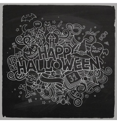 Cartoon hand drawn doodle happy halloween vector