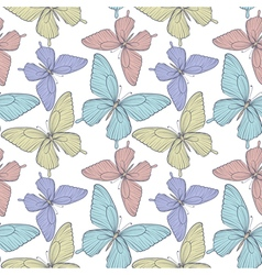 Seamless background with colorful butterflies vector