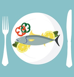 Tuna fish on plate vector