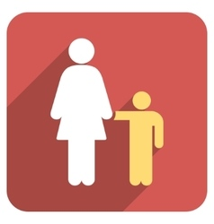 Mother with son flat rounded square icon with long vector
