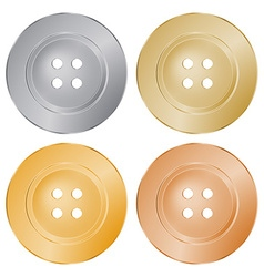 Round sewing buttons of gold silver bronze brass vector