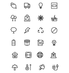 Ecology line icons 4 vector
