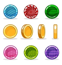 Cartoon colorful glossy coin set game animation vector