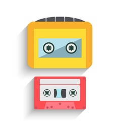 Colorful cassette tape collection isolated on a vector