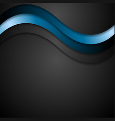 Abstract black and blue wavy design vector image vector image