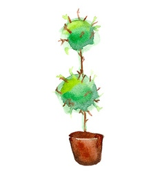 Aquarelle tree in pot vector
