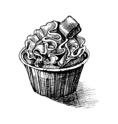 Black and white sketch cute creamy sweet cupcake vector