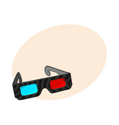 blue and red stereoscopic 3d glasses in black vector image vector image