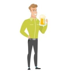Businessman drinking beer vector