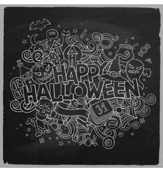 Cartoon hand drawn Doodle Happy Halloween vector image